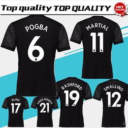 Wholesale Wholesale White Uniform Shirts - New #19 RASHFORD away black Soccer Jersey 17 18 #6 POGBA Soccer Shirt 2018 Customized #9 IBRAHIMOVIC #11 MARTIAL football uniform Sales