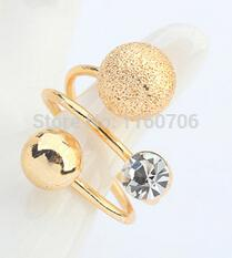 Wholesale Two Rings Balls - Wholesale- Fashion ring jewelry two gold balls rings gold rings for women crystal free shipping fine jewelry bijoux