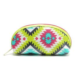Zip rosa online-100pcs / lot pattern geometrici colorati rosa zip nylon signora delle donne trousse ragazza