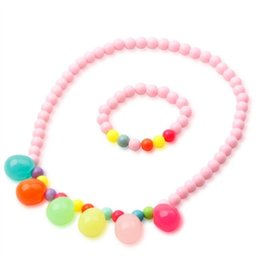 Wholesale New Indian Cute Girls - New Arrival High Quality Cute Girls Colorful Acrylic beads Necklace Bracelet set Childrens Party Jewelry Set Mix Colours Wholesale S205