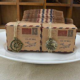 Wholesale Kraft Brown - Retro Gift Box Via Air Mail Plane Pattern Kraft Paper Candy Boxes Creative Brown Chocolate Organizer 0 35wj B R