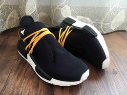 Wholesale Supply New Arrivals Orignal NMD Human Race Runner Sports Running Shoes Human Race knit upper sneakers Yellow color with box origianl