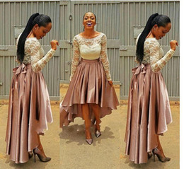 Wholesale Plus Size High Low Shirt - High Low Pink Prom Dress bella naija Bridesmaid Dresses 2017 wedding guest Dresses Long Sleeve Plus Size