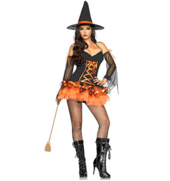 Wholesale Pumpkin Costume Women - High quality sexy halloween spirit witch cosplay costumes entertainment venue woman Masquerade role-playing game Pumpkin Girl