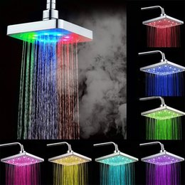 Wholesale Fix Bathroom - 6 inch LED Bathroom Shower Head Rainfall Top Spray 7 Colors Gradual Changing and 3 colors Temperature Sensor Square Fixed Shower heads