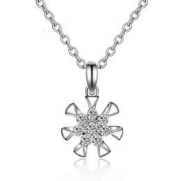 Wholesale N 925 - New Style 925 sterling silver diamond hollow pendant clavicle n Women's Fashion 925 Sterling Silver Cubic Zirconia Sunflower Pendant Necklac