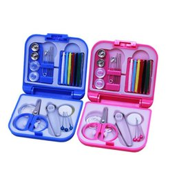 Wholesale Sewing Notions Tools - New 100 pcs Portable Travel Sewing Kits Box Needle Threads Sewing Notions Tools Scissor Thimble Home Tools free shipping B0718
