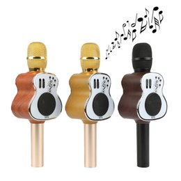 Wholesale Guitars Songs - Unique Wooden Guitar Design MIC M9 Bluetooth Karaoke Microphone Speaker KTV Singing Song Cancel Function