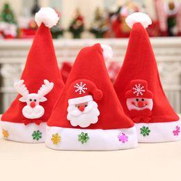 Wholesale Santa Hats For Kids - 12Pcs  Lot Kids Hats Toys Christmas Santa Claus Cap Snowman Elk Snowflakes Parenting Hats For Children New Year Natale Gifts