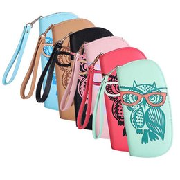 Wholesale cute owl wallets - Wholesale- Newest Cute Owl Glasses Printing Women Long Wallet PU Leather Purse Clutch Zipper Handbags Card Holder