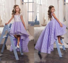 Wholesale Cute Gowns For Prom - 2017 Cute Lilac Lace High Low Flower Girl Dresses For Wedding Lavender Crew Backless Girls Pageant Gowns Baby Prom Party Dresses Custom Made