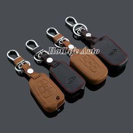 Wholesale Kia Smart Key Case - 2014 KIA Sportage Sportage R K5 Keychain Genuine Leather Car Key Case Cover 3 Button Smart Car Key Chain Ring Car Accessories