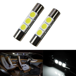 Wholesale Smd Led Warn White - 100Pcs car warn White 29mm 5050 SMD 6641 3-LED Bulbs Vanity Mirror Lights Sun Visor New