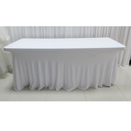 Wholesale White Table Cloths Wholesale - 5pcs A Lot 6FT*29'' Luxury Lycra Rectangle Natural Fall Swag White Table Cloth For Wedding Decoration For Free Shipping