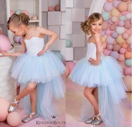 Wholesale Toddler High Low Dresses - 2016 Beautiful Light Sky Blue Flower Girls Dresses for Weddings Vintage High Low Pageant Gowns Birthday Communion Toddler Kids TuTu Dress