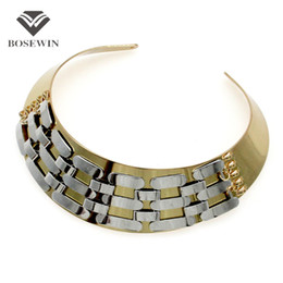 Wholesale Wedding Rhinestone Bib Necklace - Punk Metal Torques Inlay Wide Chain Choker Necklaces For Women fashion Fashion Neck Bib Collares Statement Jewelry Accessories