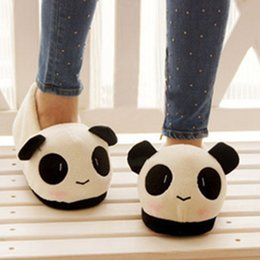 Wholesale Panda Packaging - South Korea Cotton Mop Koklvayuna W Thick Bottom Panda Lovers Package Genmian Suede Slippers Home Furnishing Lovers Shoes