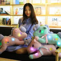 Wholesale Pink Plush Pillow - 2 Colors 50cm LED Unicorn Doll Unicorn Plush Toy Animal Pony Twin Girl Pillow Cartoon Accessories CCA7941 50pcs