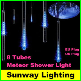 Wholesale Led Snowfall Christmas - 2016 8pcs set Snowfall LED String Light Christmas Rain tube 20cm 30cm 50cm Meteor Shower Rain LED Lights 100-240V EU US plug