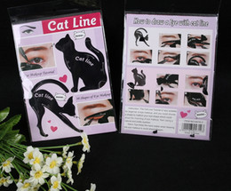 Wholesale Eyeliner Shaper - Charming Cat Line Eye Makeup Tool Eyeliner Stencils Template Shaper Model Beginners Efficient Eyeline Card Tools