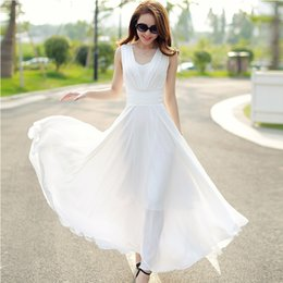 Wholesale young girl white dress - On Sale!! Quality 2017 Summer Women Chiffon Dress Korean Style Solid Young Lady A-line Dress Sleeveless Bohemian Girls Dress