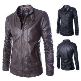 Wholesale Mens Leather Top Coat - Fall-M-5XL Locomotive jacket for men male Leather Jacket mens leather thin fit jackets and coats Casual Wear Top quality PU leather