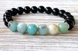 Felicidade negra on-line-Sn1053 aaa preto onyx multi colorido amazonita pulseira coração chakra yoga jóias proteção poder felicidade jóias