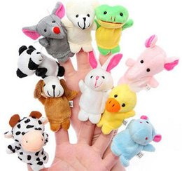 Wholesale Farm Animals Games - Finger Toys 2016 Fashion Baby Plush Toy Finger Puppets Talking Props 10 Animals Group 10pcs Set Family Games Teaching Props SDB1003-2