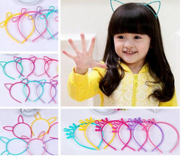 Wholesale Hair Designs For Girls - Kids Headbands Cat Ears Bunny Ears Crown bowknot 4 designs plastic with short combs Headband for girls children hair accessories hair band