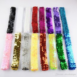 Wholesale Stretch Sequin For Headbands - free shipping 30pcs lot Sequin Headbands Baby Headbands For Girl Stretch 1Inch Sequin Headband 16 Colors D09