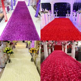 Wholesale Rose Table Runners - New Arrival Luxury Wedding Centerpieces Favors 3D Rose Petal Carpet Aisle Runner For Wedding Party Decoration Supplies 12 Color