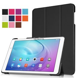 Wholesale Huawei Fhd - Best quality tri fold leather case Folio Flip Smart Cover for Huawei T2 pro 10 inch TUltra Slim Folding