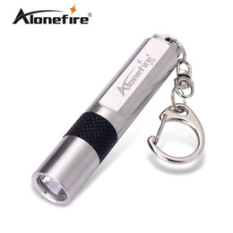 Wholesale Led Keychain Flashlight Waterproof - ALONDFIRE S107 CREE XPE Q5 LED Stainless steel waterproof 3-Mode Mini flashlight Keychain light for AAA or 10440 Rechargeable batteries