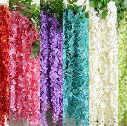 "Wholesale silk hydrangea stems wholesale - Silk Wisteria Vine 164cm 64.57"" Length Artificial Flowers Garlanded Hydrangea Wisterias 3 Stems 6 Colors for Wedding Centerpiece"