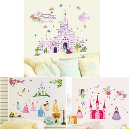 Wholesale Wall Decoration For Baby Rooms - 100pcs AY833 ZY5102 Y009 Princess Castle girls room decals Princess Kids room nursery wall sticker home decals baby room home decoration