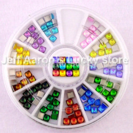 Wholesale Cell Phone Nail Art Decorations - 3MM 3D Flat Back Square Acrylic nail art decoration glitter rhinestone wheel gem Cell Phone Accessories