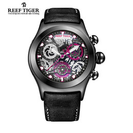 Wholesale Reef Tiger RT Chronograph Sport Watches for Men Skeleton Dial with Date Three Counters Design Luminous Swiss Watches RGA792