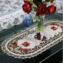 Wholesale Floral Table Runners - Hot Sale Elegant Polyester Embroidery Table Runner Embroidered Floral Cutwork Table Cloth Linen Covers Runners