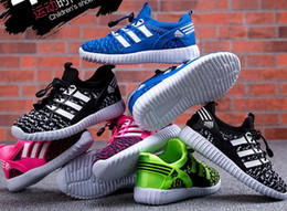 Wholesale Elastic Rubber Sports Running - Fashion Kids Boys Girls shoes Sneakers Breathable Mesh Sports Flat Running Children's Athletic Shoes 4 colors Age 3-11 Years drop shipping