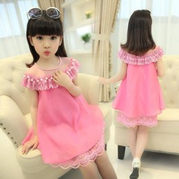 Wholesale Lolita Prom Dresses - fashion girl lace tulle Chiffon pearls beading A-Line dress summer children baby kids gauze hollow out party prom tutu dress