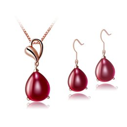 Wholesale 925 Silver Setting Cabochon - 18K rose gold plated 925 Silver drop cabochon cut natural red agate Jewelry set
