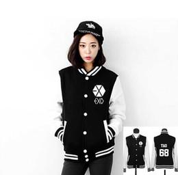 Wholesale Exo Chanyeol - Wholesale- Kpop exo baseball jacket men women autumn chanyeol baekhyun single breasted black hoodie jacket member name printing tracksuit