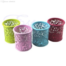Wholesale Metal Pen Pot - Wholesale-J34 Free Shipping Hollow Rose Metal Pen Pencil Pot Stationery Organizer Container Cosmetic Holder