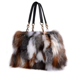 Wholesale Winter Shoulder Fur - Fox Fur Handbags Fashion Women Winter Luxury Bag Genuine Leather Shoulder Bags Bolsa Feminine Messenger Bags