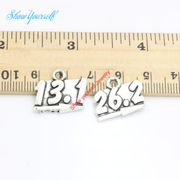 Wholesale Half Pendants - 15pcs Antique Silver Plated 13.1 Half Marathon 26.2 Charms Pendants for Jewelry Making DIY Handmade Craft 16x19mm