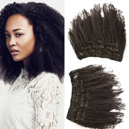Wholesale Clips For Hair Weft - G-EASY Top Lace Clips In Hair Extensions natural black 100% Peruvian Human Hair Weft afro kinky curly for african american black women