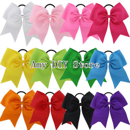 Wholesale Baby Headband Bows Elastic - Free Shipping 24pcs lot 7.5'' Large Solid Cheerleading Hair Bows Grosgrain Ribbon Cheer Bows Tie With Elastic Band For Baby Girl HJ071+XP