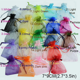 Wholesale Organza Bags 7x9cm - 100pcs  bag , Selection 24 Colors Jewelry bag 7x9cm organza jewelry bag packaging display & Jewelry Pouches, free shipping