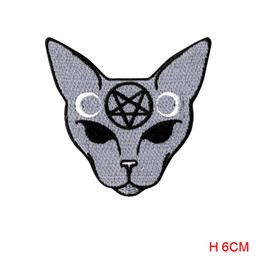 Wholesale Embroidered Iron - new arrive Goth Cat Patch badge Iron On embroidered backpack biker