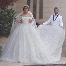 Cheap white luxury church sheer wedding dress - 2018 Luxury Full Lace Ball Gown Wedding Dresses Cap Sleeves African Arabic Garden Church Cathedral Train Bride Bridal Wear Custom Made